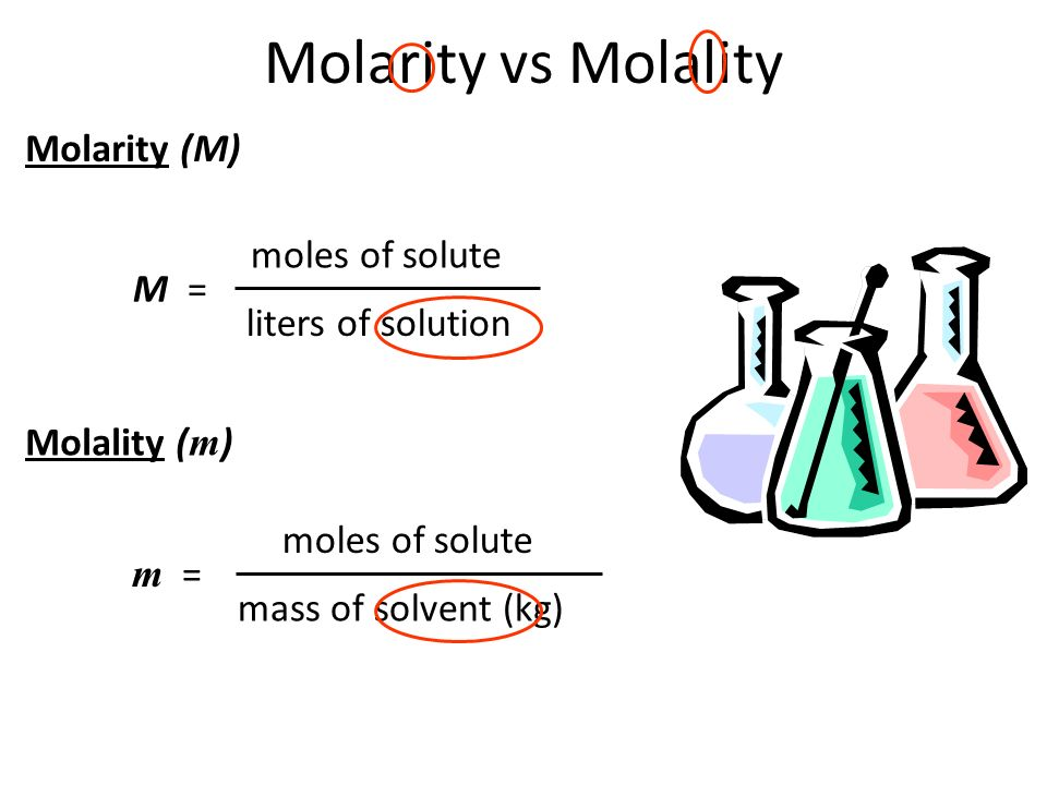 Molarity vs Molality M = moles of solute liters of solution Molarity (M) Molality ( m ) m = moles of solute mass of solvent (kg)