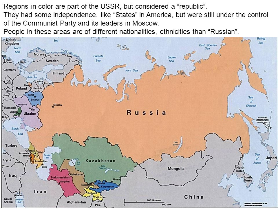 Regions in color are part of the USSR, but considered a republic. They had some independence, like States in America, but were still under the control