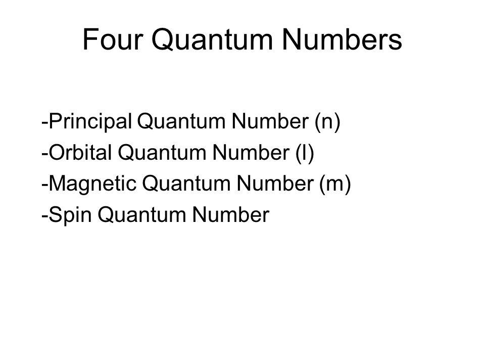 Four Quantum Numbers -Principal Quantum Number (n) -Orbital Quantum Number (l) -Magnetic Quantum Number (m) -Spin Quantum Number