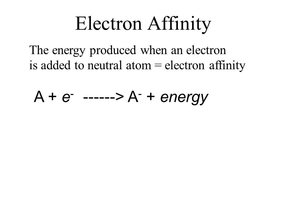 Electron Affinity The energy produced when an electron is added to neutral atom = electron affinity A + e - ------> A - + energy