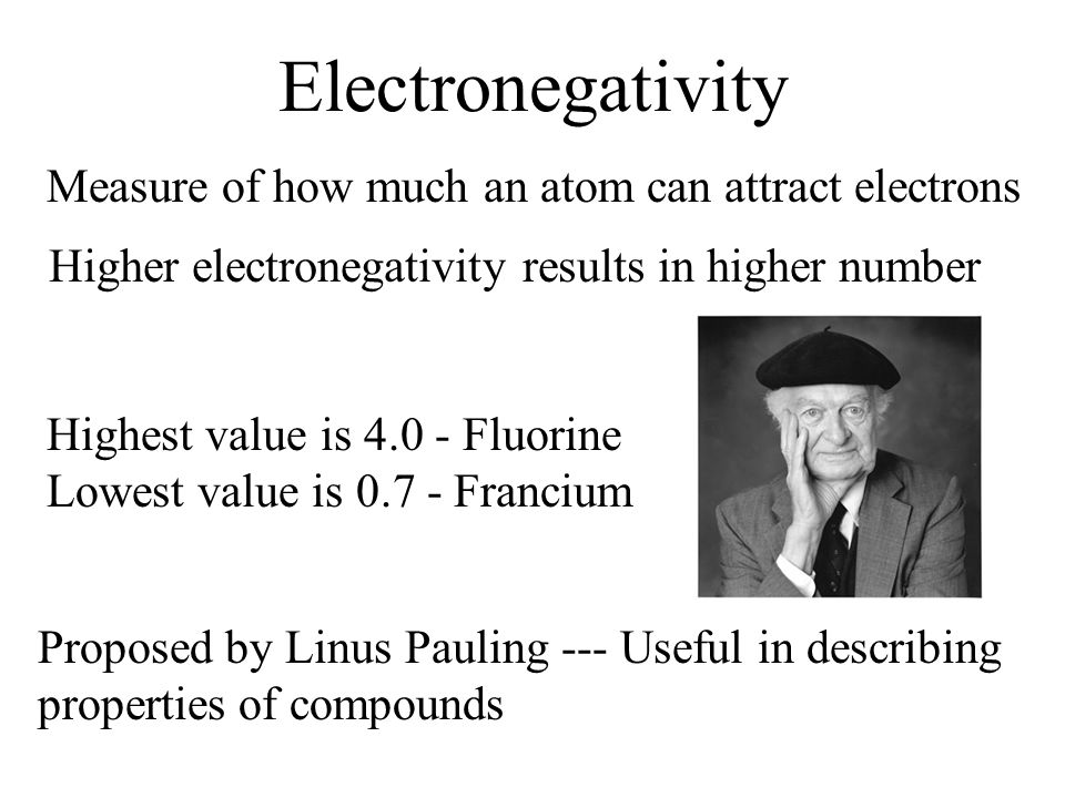 Electronegativity Measure of how much an atom can attract electrons Higher electronegativity results in higher number Highest value is 4.0 - Fluorine