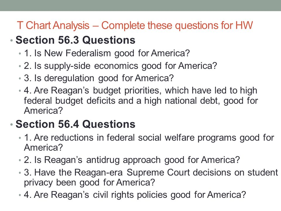 T Chart Analysis – Complete these questions for HW Section 56.3 Questions 1. Is New Federalism good for America? 2. Is supply-side economics good for