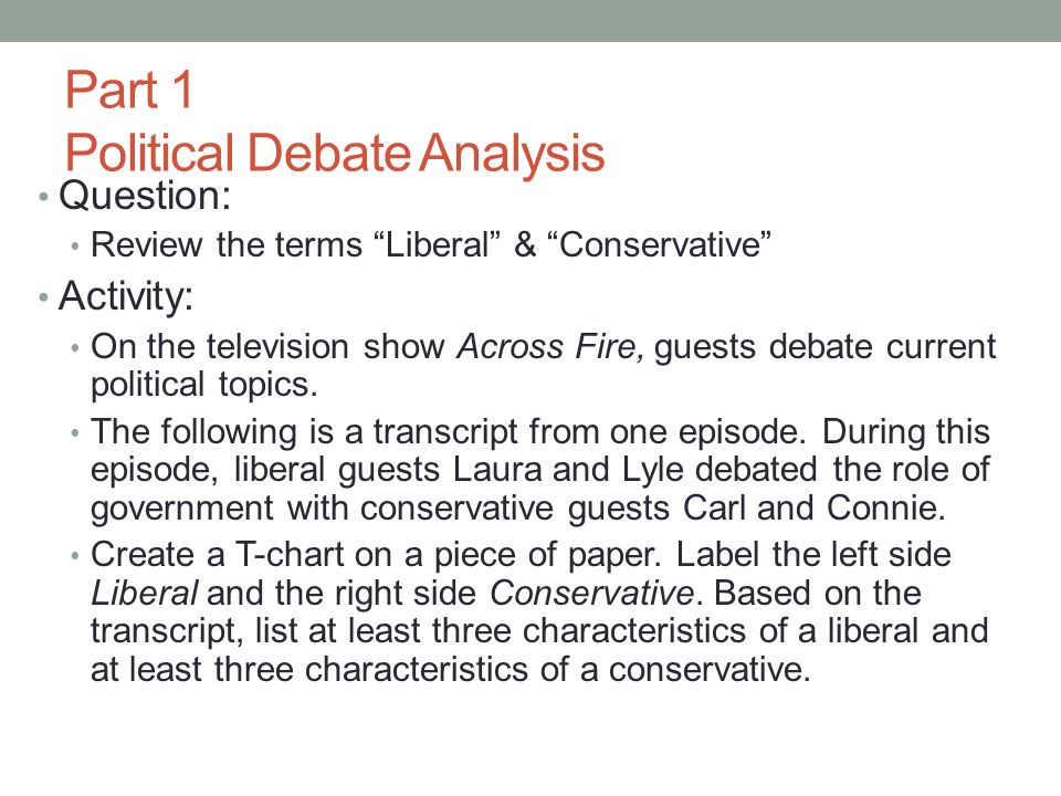Part 1 Political Debate Analysis Question: Review the terms Liberal & Conservative Activity: On the television show Across Fire, guests debate current