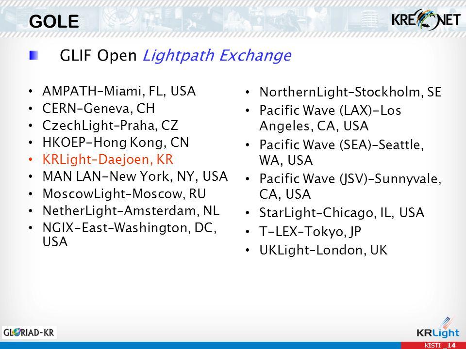KISTI _14 GOLE GLIF Open Lightpath Exchange AMPATH–Miami, FL, USA CERN–Geneva, CH CzechLight–Praha, CZ HKOEP-Hong Kong, CN KRLight–Daejoen, KR MAN LAN-New York, NY, USA MoscowLight–Moscow, RU NetherLight–Amsterdam, NL NGIX-East–Washington, DC, USA NorthernLight–Stockholm, SE Pacific Wave (LAX)-Los Angeles, CA, USA Pacific Wave (SEA)–Seattle, WA, USA Pacific Wave (JSV)–Sunnyvale, CA, USA StarLight–Chicago, IL, USA T-LEX–Tokyo, JP UKLight–London, UK