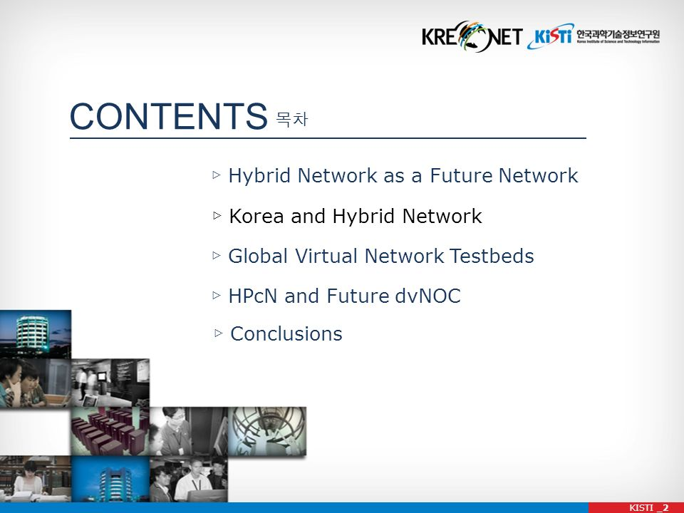CONTENTS Hybrid Network as a Future Network Global Virtual Network Testbeds Conclusions KISTI _2 Korea and Hybrid Network HPcN and Future dvNOC