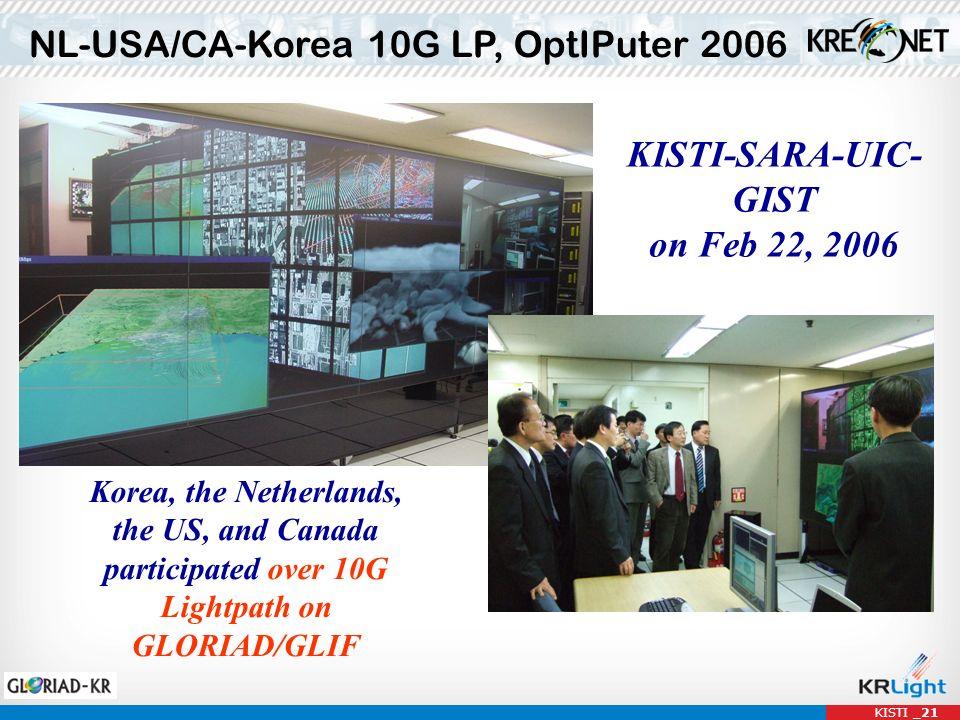 NL-USA/CA-Korea 10G LP, OptIPuter 2006 KISTI-SARA-UIC- GIST on Feb 22, 2006 Korea, the Netherlands, the US, and Canada participated over 10G Lightpath