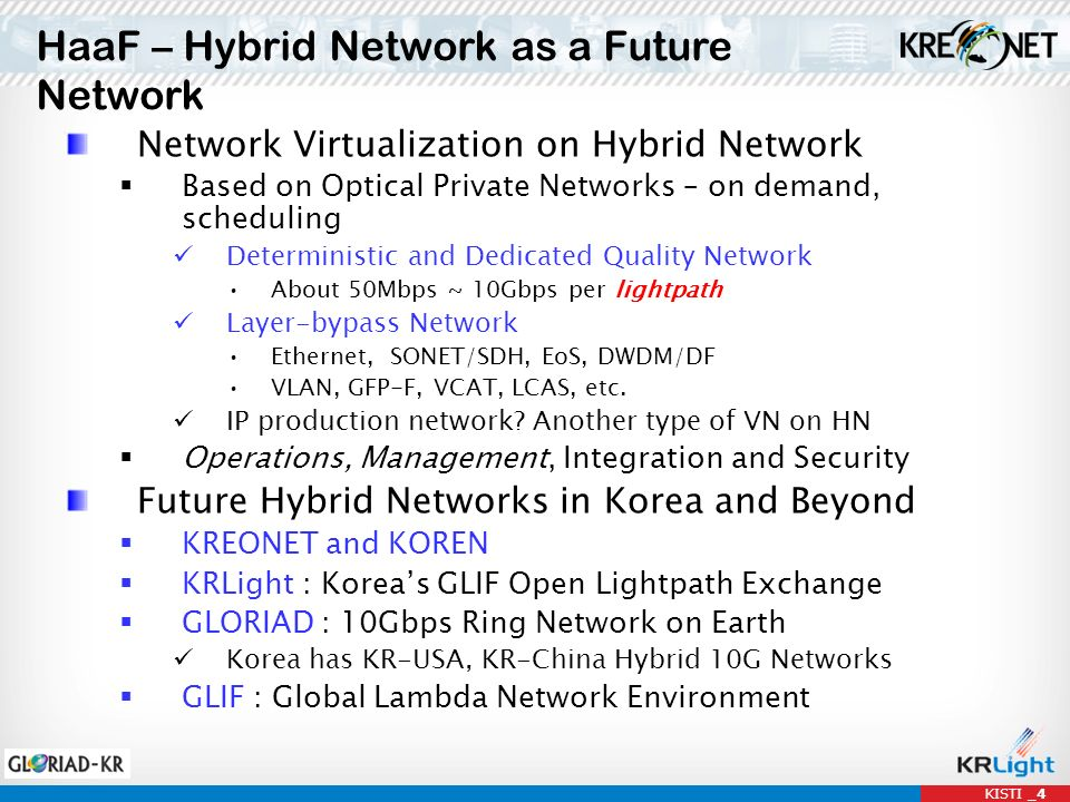 HaaF – Hybrid Network as a Future Network KISTI _4 Network Virtualization on Hybrid Network Based on Optical Private Networks – on demand, scheduling Deterministic and Dedicated Quality Network About 50Mbps ~ 10Gbps per lightpath Layer-bypass Network Ethernet, SONET/SDH, EoS, DWDM/DF VLAN, GFP-F, VCAT, LCAS, etc.