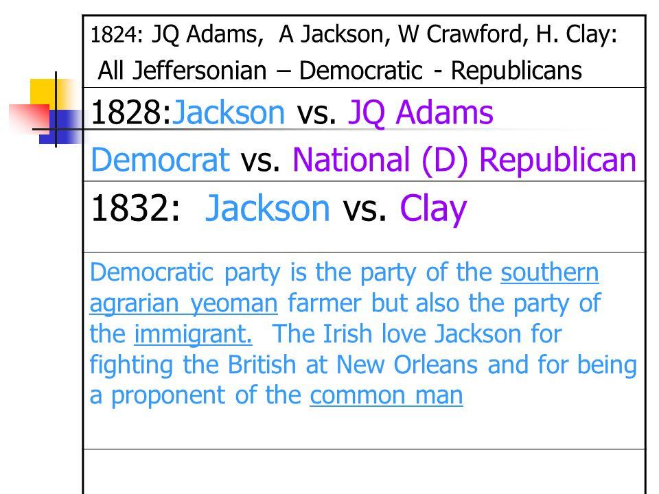 1824: JQ Adams, A Jackson, W Crawford, H. Clay: All Jeffersonian – Democratic - Republicans 1828:Jackson vs. JQ Adams Democrat vs. National (D) Republ