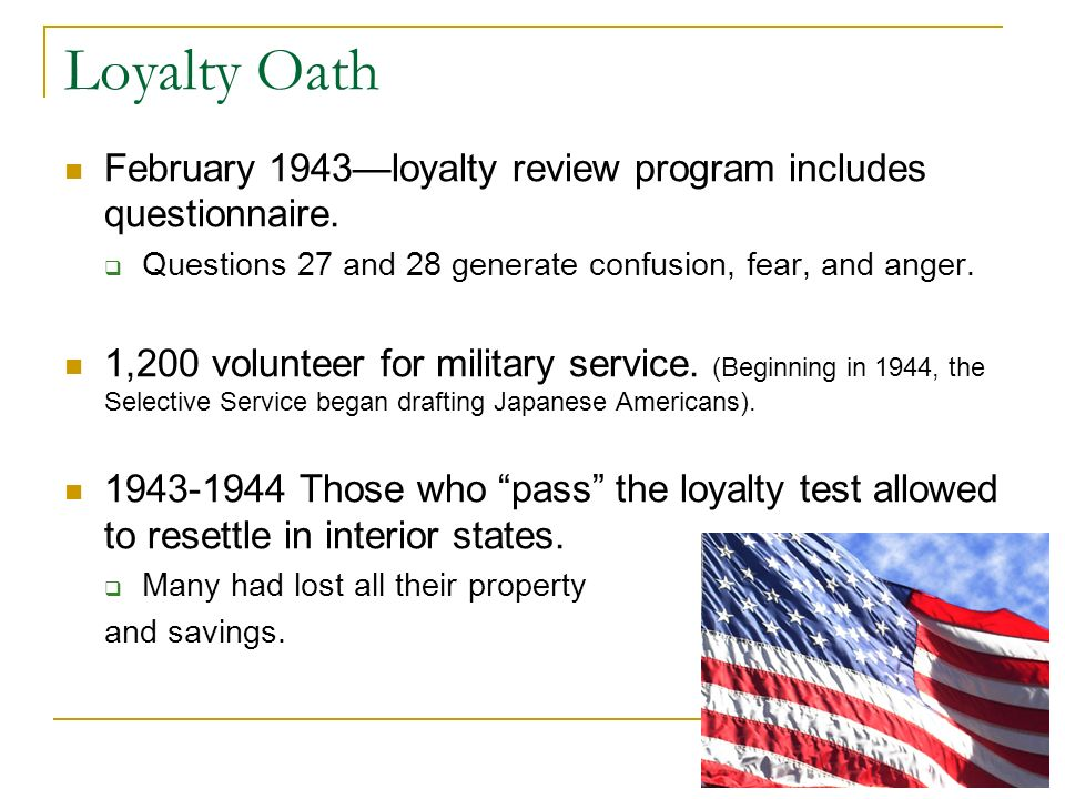Loyalty Oath February 1943loyalty review program includes questionnaire.