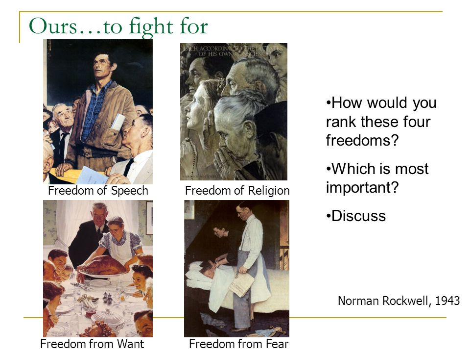 Ours…to fight for Norman Rockwell, 1943 Freedom of SpeechFreedom of Religion Freedom from FearFreedom from Want How would you rank these four freedoms.