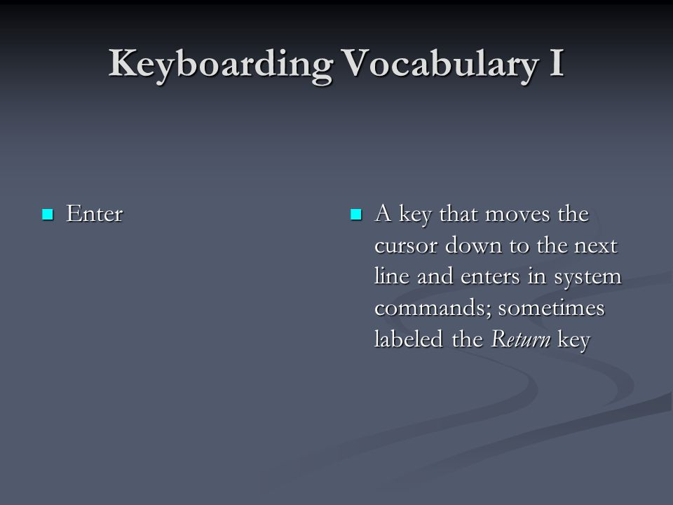 Keyboarding Vocabulary I Escape Escape A key that is used to cancel a function or exit part of a program