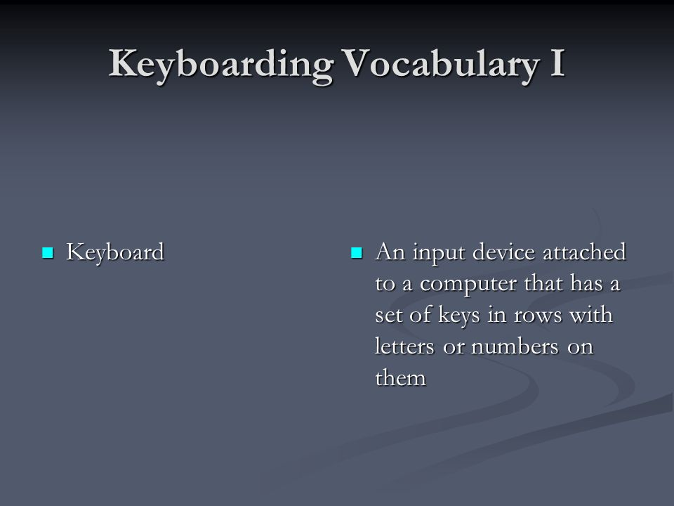 Keyboarding Vocabulary I Keyboard Keyboard An input device attached to a computer that has a set of keys in rows with letters or numbers on them