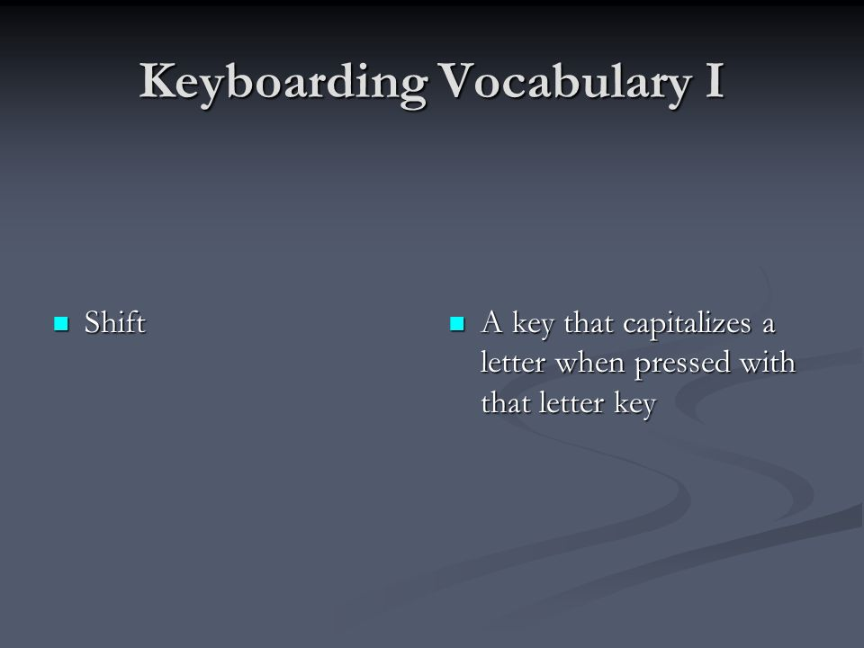 Keyboarding Vocabulary I Shift Shift A key that capitalizes a letter when pressed with that letter key