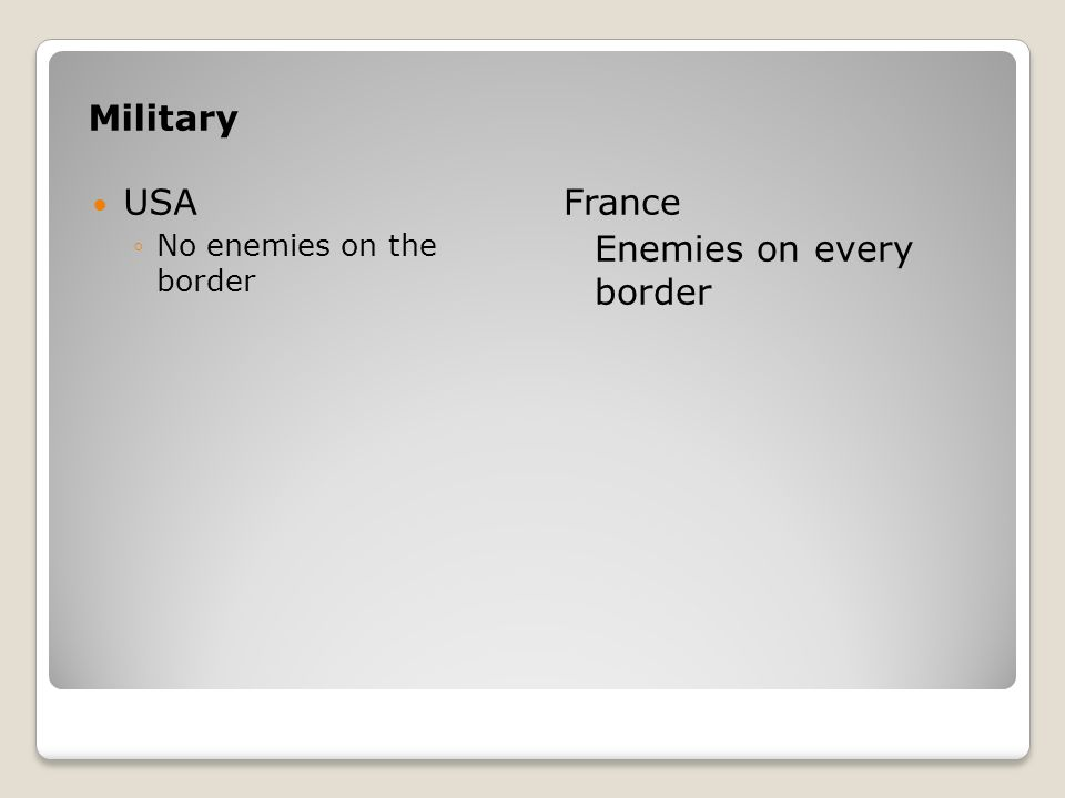 Military USA No enemies on the border France Enemies on every border