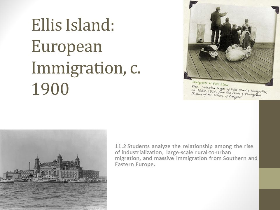Beyond Ellis Island: Many immigrants settle in cities: New York, Chicago, Boston 187025% of Americans live in cities 192050% of Americans live in cities Immigrants settle near others from their home country Ethnic Enclaves Tenements: crowded, dirty Settlement Houses: provide services, such as child care and classes