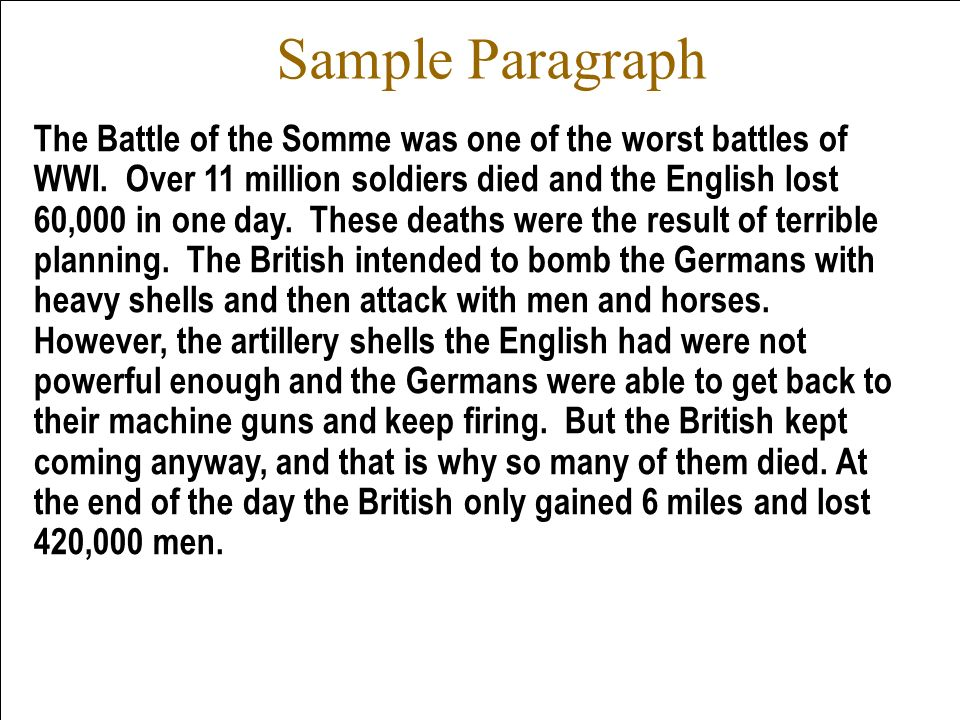 Sample Paragraph The Battle of the Somme was one of the worst battles of WWI. Over 11 million soldiers died and the English lost 60,000 in one day. Th