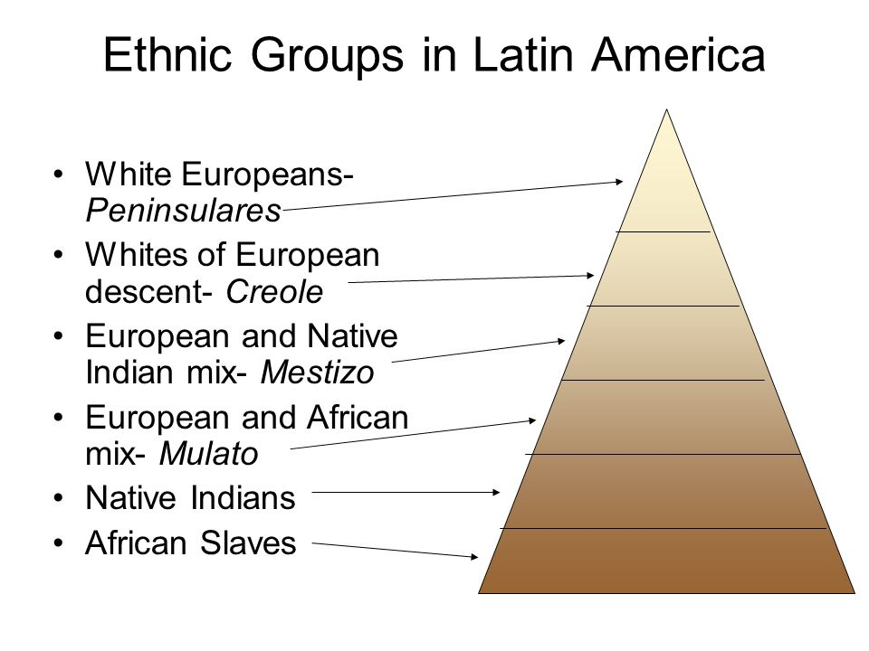 Ethnic Groups in Latin America White Europeans- Peninsulares Whites of European descent- Creole European and Native Indian mix- Mestizo European and African mix- Mulato Native Indians African Slaves