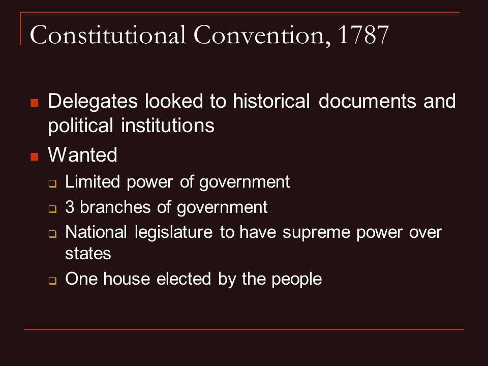 Constitutional Convention, 1787 Delegates looked to historical documents and political institutions Wanted Limited power of government 3 branches of g