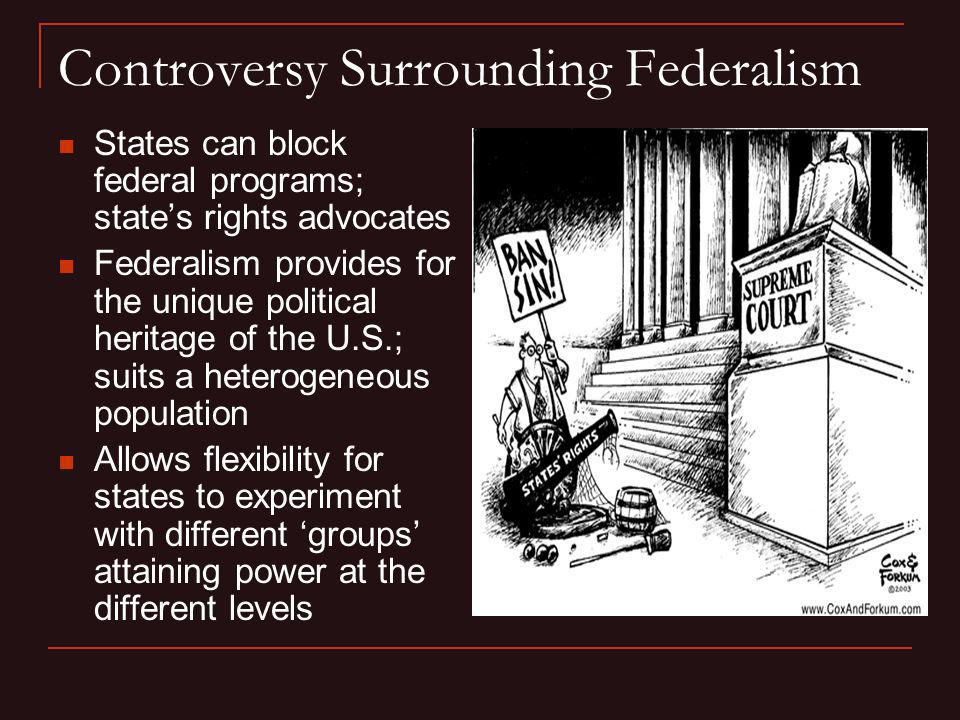 Controversy Surrounding Federalism States can block federal programs; states rights advocates Federalism provides for the unique political heritage of
