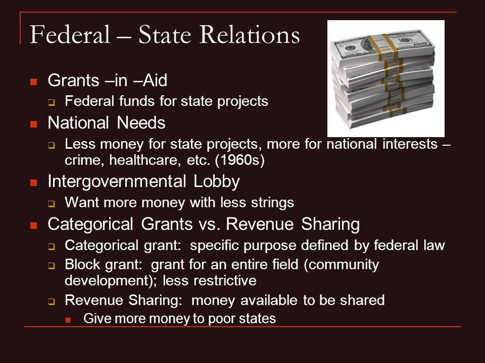 Federal – State Relations Grants –in –Aid Federal funds for state projects National Needs Less money for state projects, more for national interests –