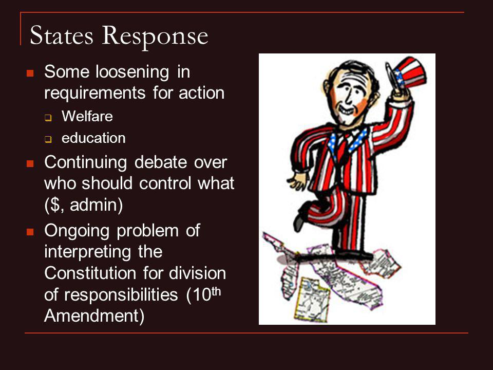 States Response Some loosening in requirements for action Welfare education Continuing debate over who should control what ($, admin) Ongoing problem
