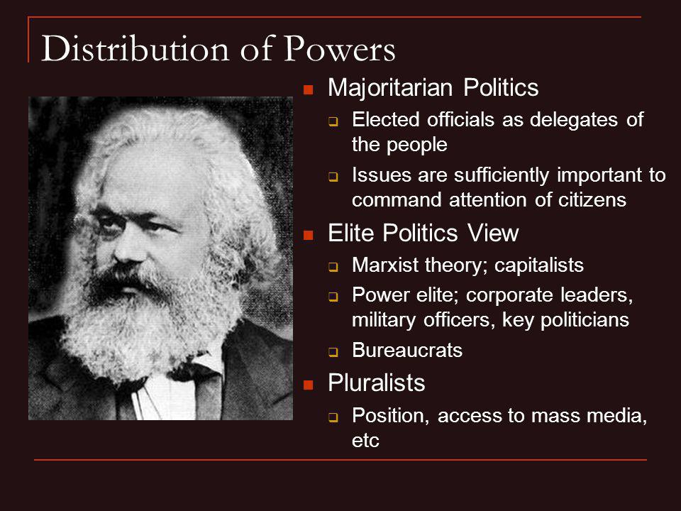 Distribution of Powers Majoritarian Politics Elected officials as delegates of the people Issues are sufficiently important to command attention of ci