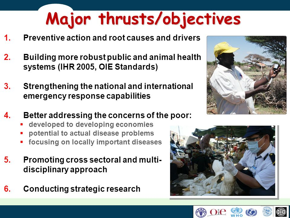 Major thrusts/objectives 1.Preventive action and root causes and drivers 2.Building more robust public and animal health systems (IHR 2005, OIE Standa