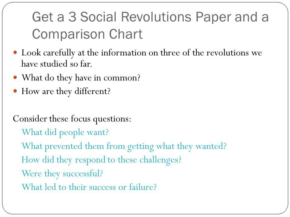 Get a 3 Social Revolutions Paper and a Comparison Chart Look carefully at the information on three of the revolutions we have studied so far. What do