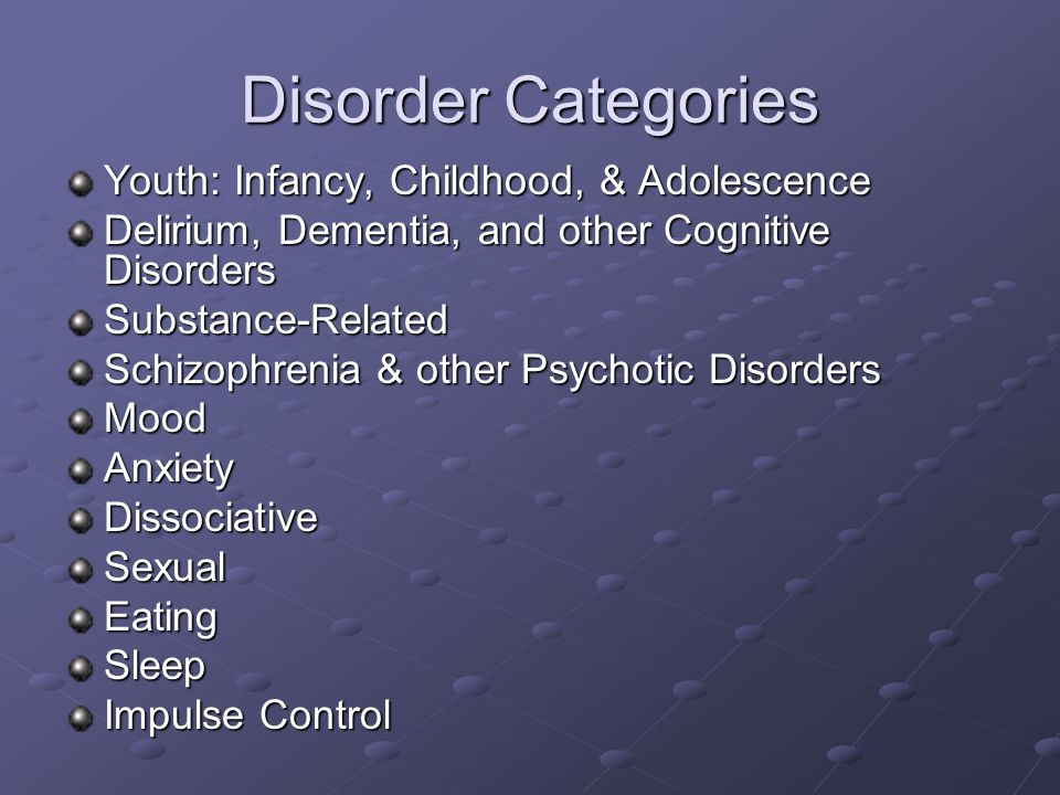 Disorder Categories Youth: Infancy, Childhood, & Adolescence Delirium, Dementia, and other Cognitive Disorders Substance-Related Schizophrenia & other