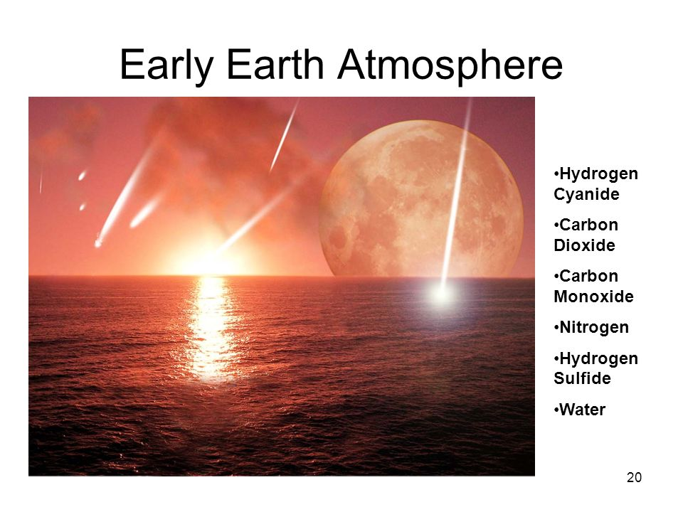 Early Earth Atmosphere Hydrogen Cyanide Carbon Dioxide Carbon Monoxide Nitrogen Hydrogen Sulfide Water 20