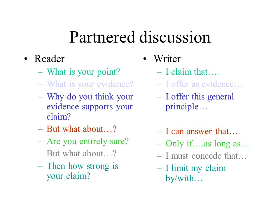 Partnered discussion Reader –What is your point. –What is your evidence.