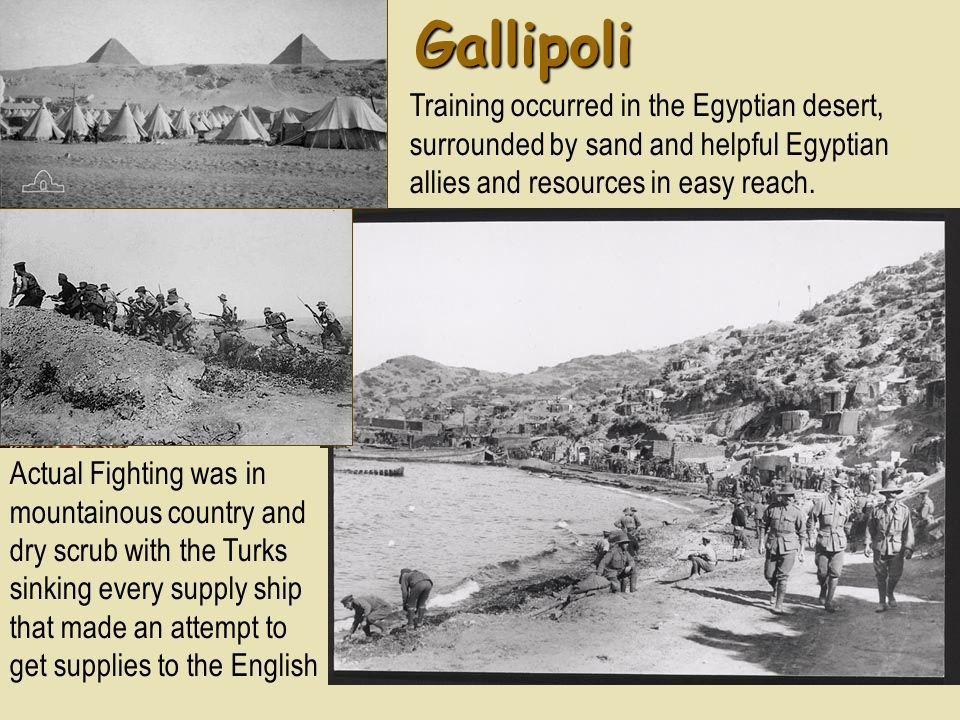 Gallipoli Training occurred in the Egyptian desert, surrounded by sand and helpful Egyptian allies and resources in easy reach. Actual Fighting was in