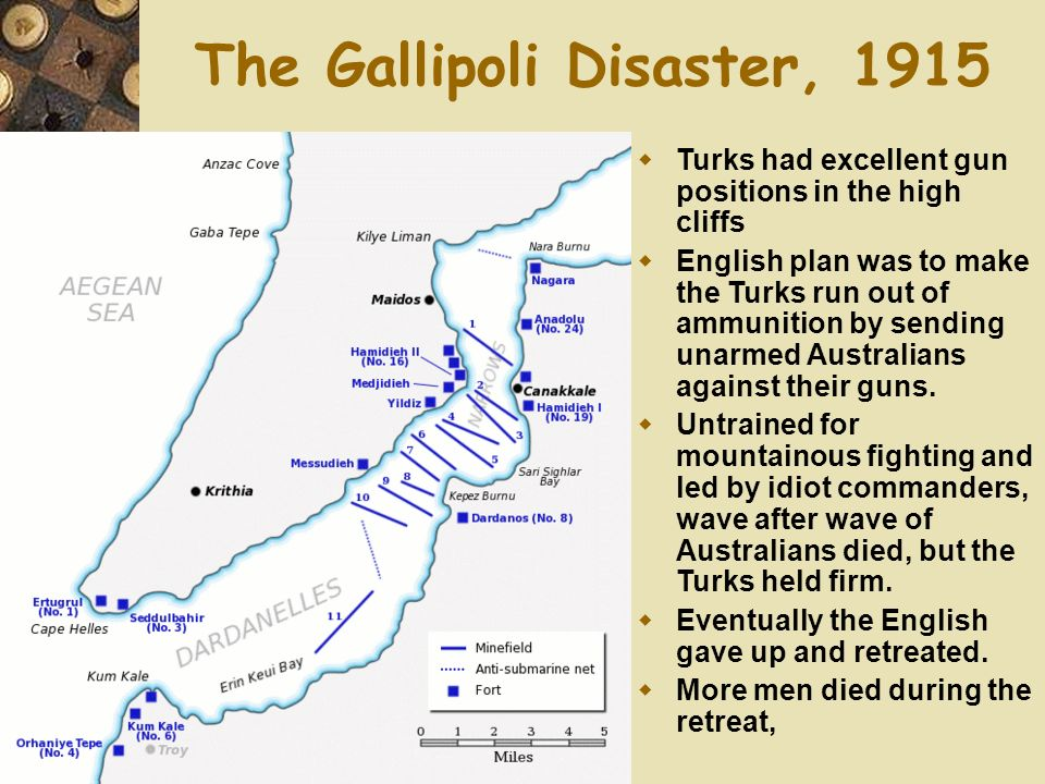 The Gallipoli Disaster, 1915 Turks had excellent gun positions in the high cliffs English plan was to make the Turks run out of ammunition by sending unarmed Australians against their guns.