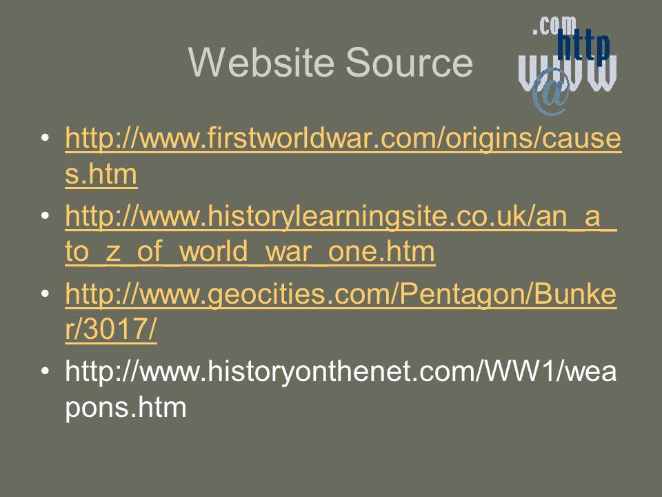Website Source http://www.firstworldwar.com/origins/cause s.htmhttp://www.firstworldwar.com/origins/cause s.htm http://www.historylearningsite.co.uk/a