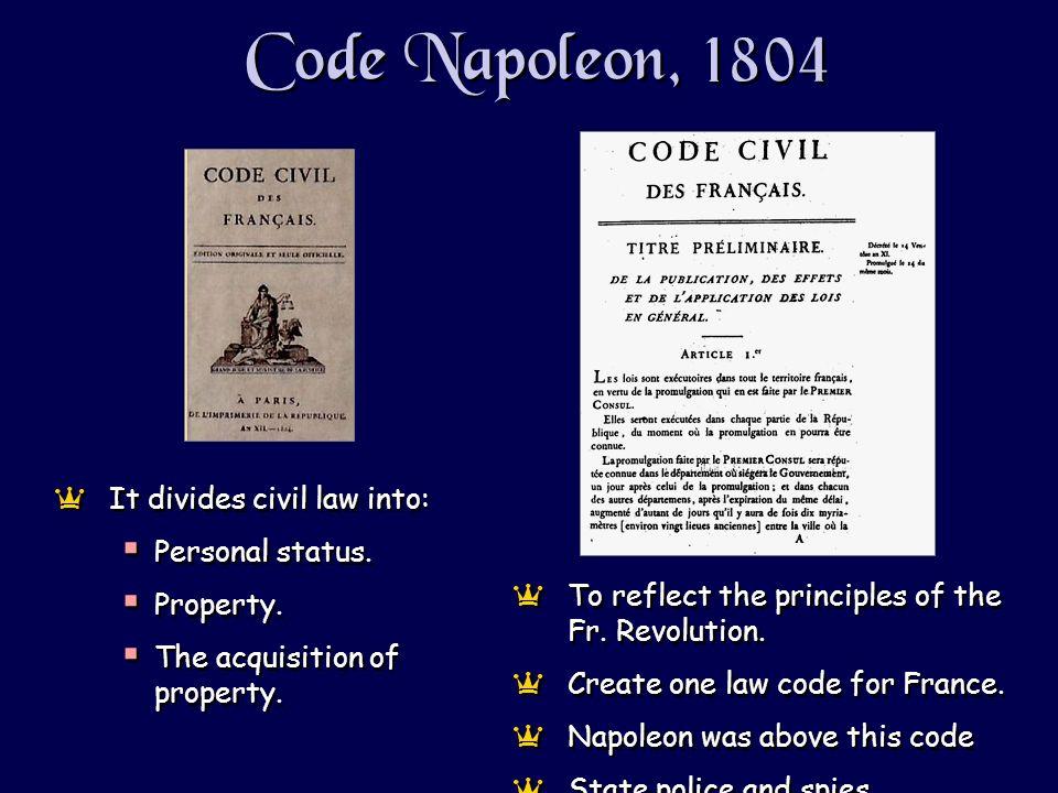 Code Napoleon, 1804 aIt divides civil law into: Personal status.