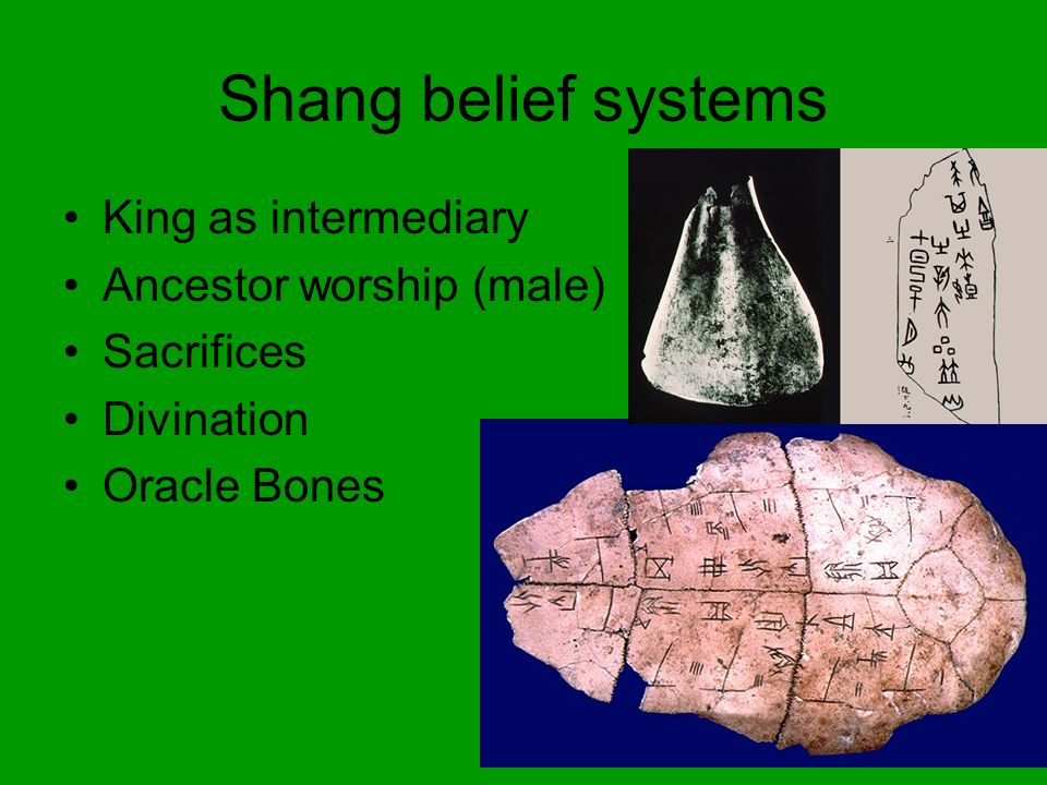 Shang Administration Decentralized Pictograms – formal writing, does not change over time Bronze and metallurgy Trade with Mesopotamia Chariots Natural resources and inventions