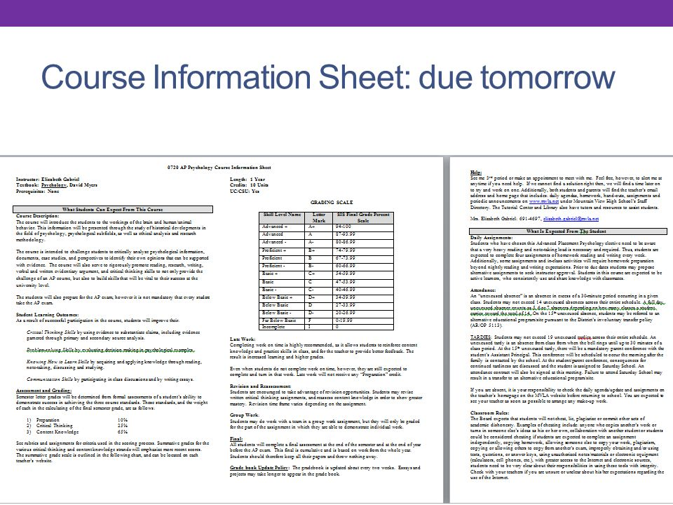 Course Information Sheet: due tomorrow