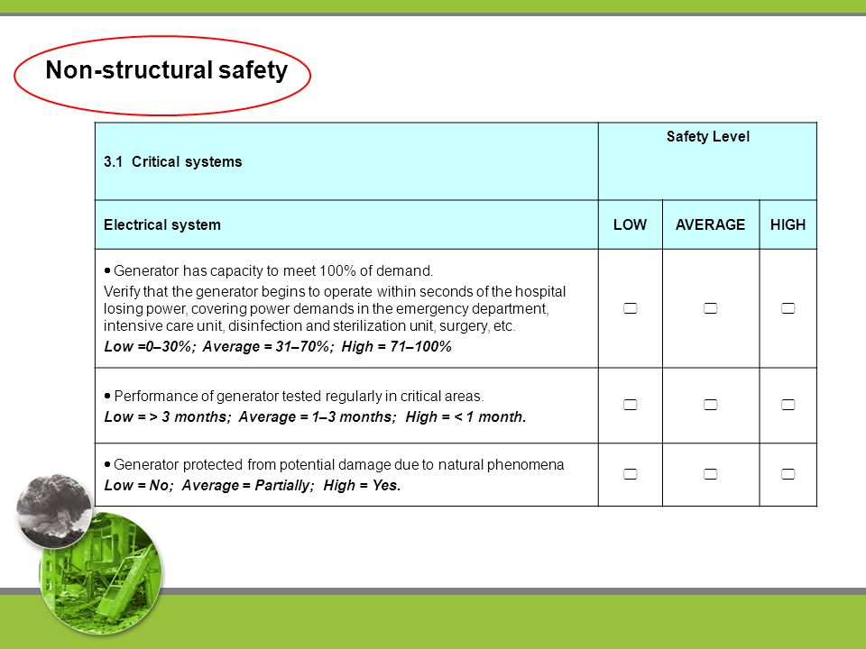 Non-structural safety 3.1 Critical systems Safety Level Electrical systemLOWAVERAGEHIGH Generator has capacity to meet 100% of demand.
