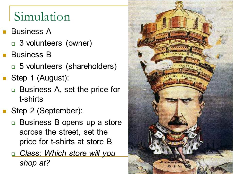 Simulation Step 3 (October): Business A, respond to the t-shirt price of Business B Class: Which store will you shop at.