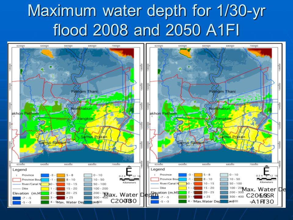 Maximum water depth for 1/30-yr flood 2008 and 2050 A1FI