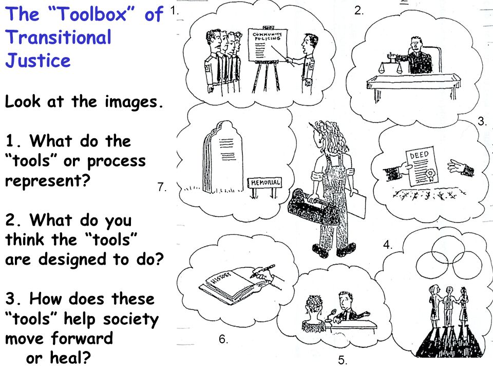 1.2. 3. 4. 5. 6. 7. The Toolbox of Transitional Justice Look at the images. 1. What do the tools or process represent? 2. What do you think the tools