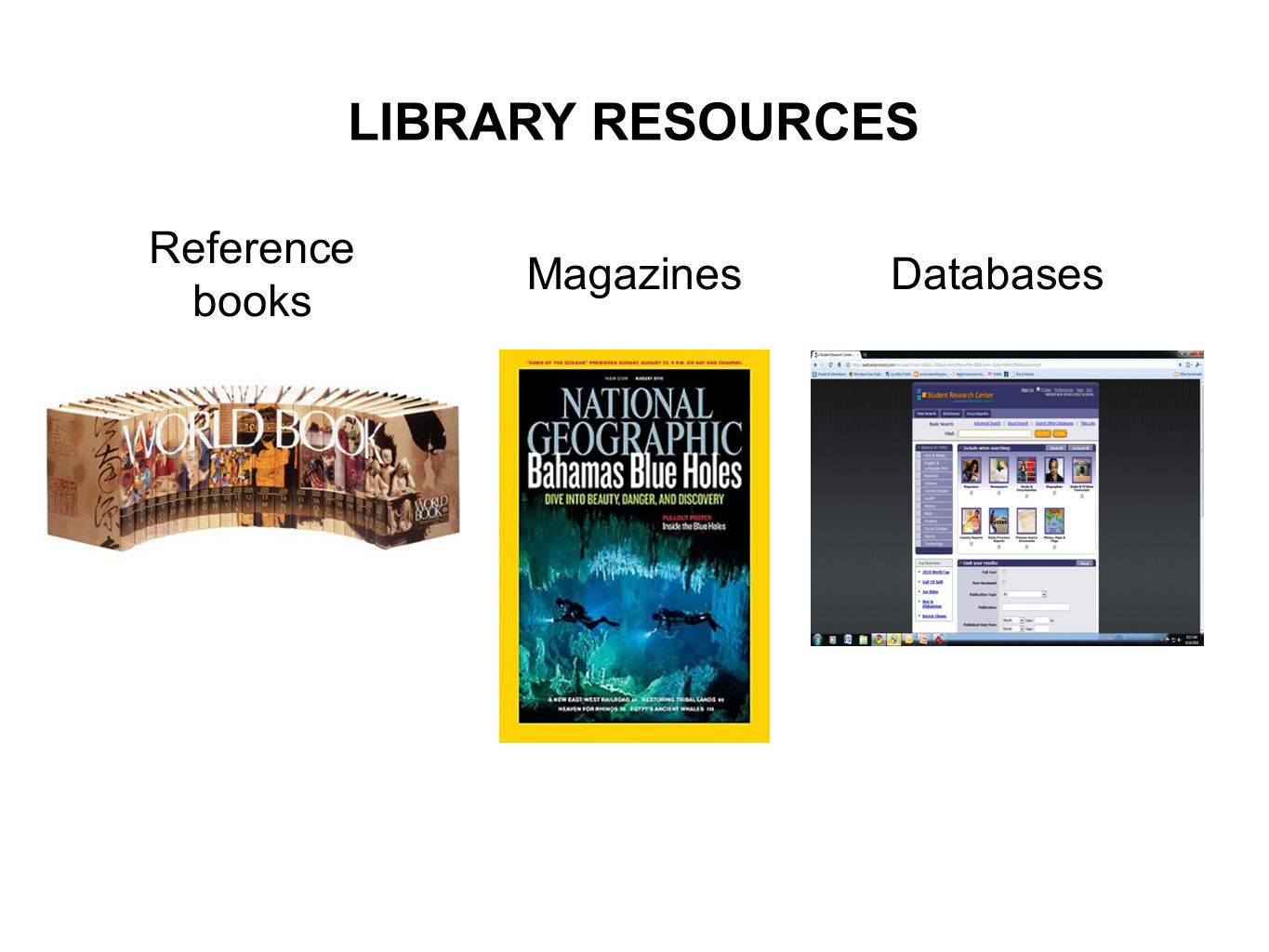 Reference books Magazines Databases LIBRARY RESOURCES