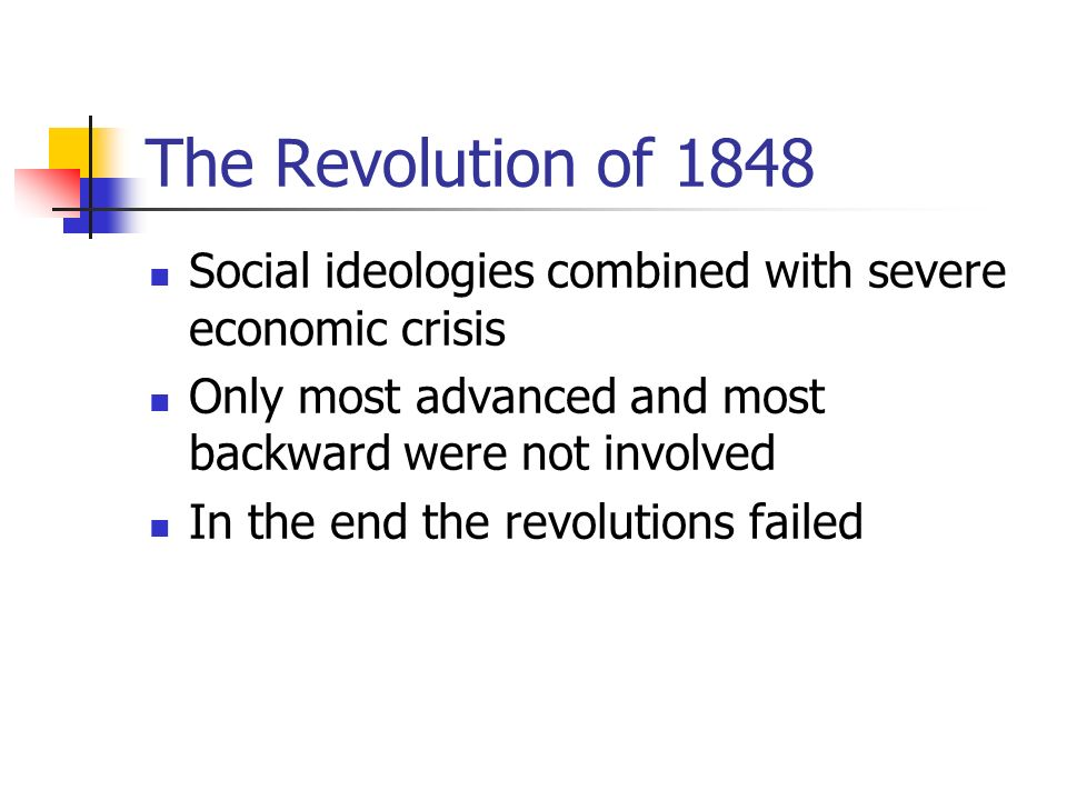 The Revolution of 1848 Social ideologies combined with severe economic crisis Only most advanced and most backward were not involved In the end the revolutions failed