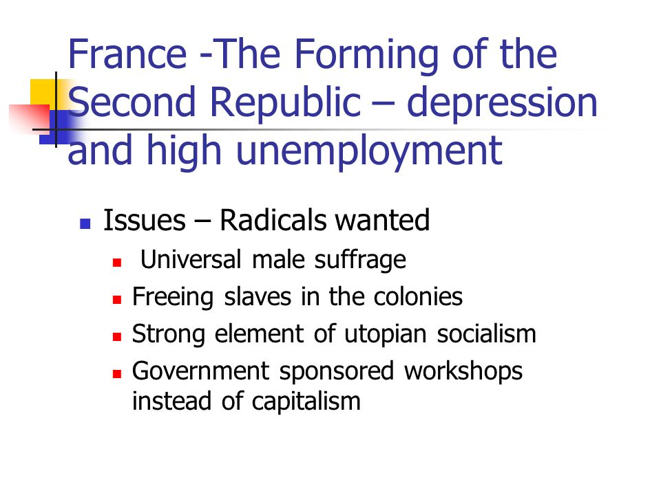 France -The Forming of the Second Republic – depression and high unemployment Issues – Radicals wanted Universal male suffrage Freeing slaves in the colonies Strong element of utopian socialism Government sponsored workshops instead of capitalism