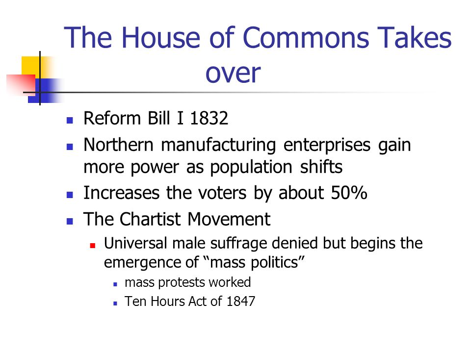 The House of Commons Takes over Reform Bill I 1832 Northern manufacturing enterprises gain more power as population shifts Increases the voters by about 50% The Chartist Movement Universal male suffrage denied but begins the emergence of mass politics mass protests worked Ten Hours Act of 1847