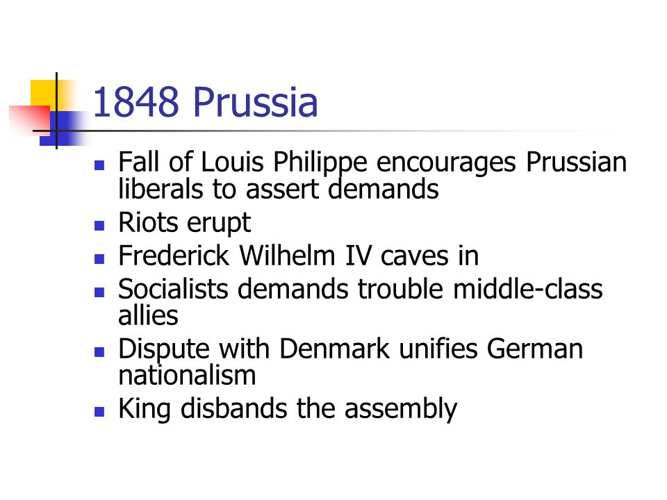 1848 Prussia Fall of Louis Philippe encourages Prussian liberals to assert demands Riots erupt Frederick Wilhelm IV caves in Socialists demands trouble middle-class allies Dispute with Denmark unifies German nationalism King disbands the assembly