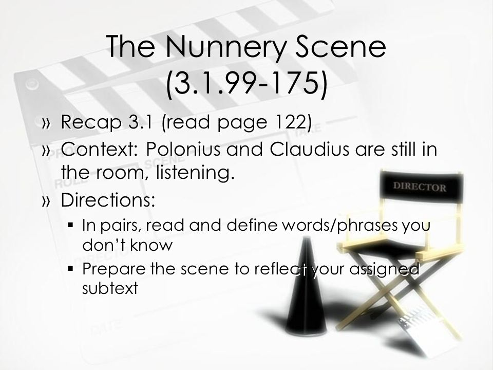 The Nunnery Scene ( ) »Recap 3.1 (read page 122) »Context: Polonius and Claudius are still in the room, listening.