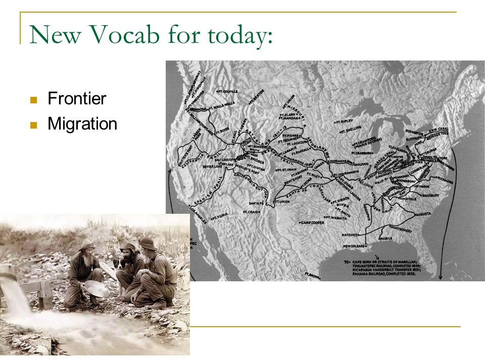 New Vocab for today: Frontier Migration