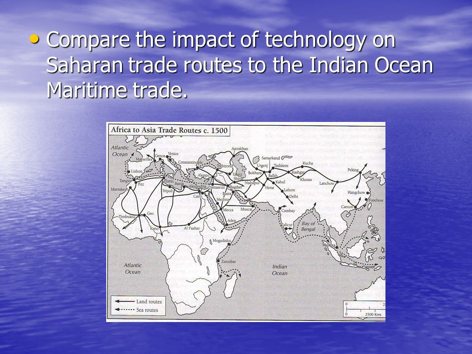 Compare the impact of technology on Saharan trade routes to the Indian Ocean Maritime trade. Compare the impact of technology on Saharan trade routes