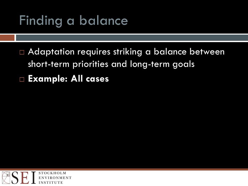 Finding a balance Adaptation requires striking a balance between short-term priorities and long-term goals Example: All cases